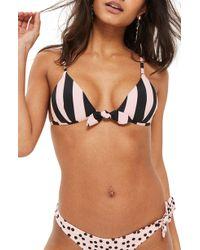 TOPSHOP - Stripe Tie Bikini Top - Lyst
