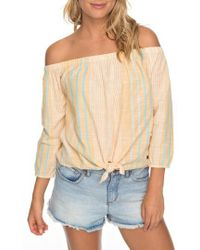 Roxy - Crossing Stripes Of The Shoulder Top - Lyst