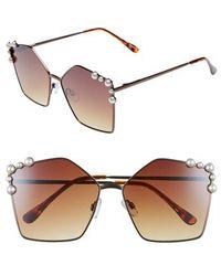 f80bad385f496 Lyst - Chanel Square Pearl Sunglasses Brown in Metallic