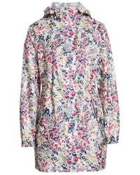 Joules - Right As Rain Packable Print Hooded Raincoat, Pink - Lyst