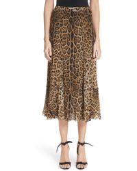 Fuzzi - Leopard Print Tulle Midi Skirt - Lyst