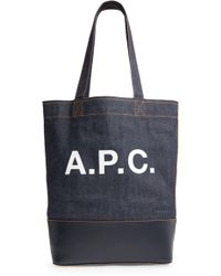 A.P.C. - Cabas Axel Canvas & Leather Tote - Lyst