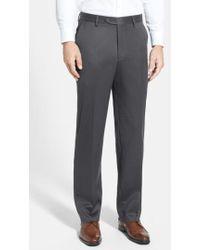 Berle - Flat Front Wool Gabardine Trousers - Lyst
