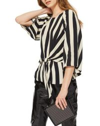 TOPSHOP - Humbug Stripe Slouch Knot Blouse - Lyst