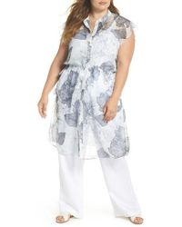Vince Camuto - Flutter Sleeve Floral Chiffon Shirt Tunic - Lyst