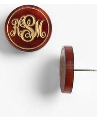 Moon & Lola   'chelsea' Medium Personalized Monogram Stud Earrings (nordstrom Exclusive)   Lyst