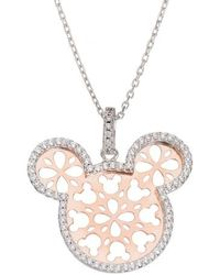 Disney - Mickey Mouse Crystal Two-tone Pendant Necklace - Lyst