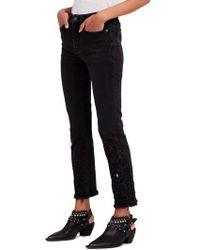 Free People - Cutwork Cigarette Jeans - Lyst