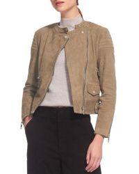 Whistles - Collarless Suede Moto Jacket - Lyst