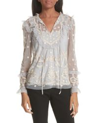 Needle & Thread - Needle And Thread Flapper Embroidered Tulle Top - Lyst