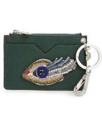 Sam Edelman - Carter Eye Embellished Faux Leather Card Case - Lyst