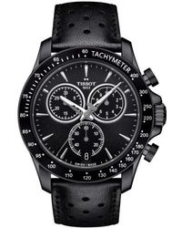 Tissot - V8 Chronograph Leather Strap Watch - Lyst