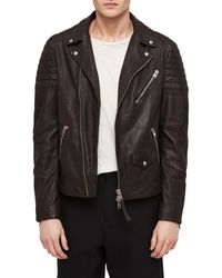 AllSaints - Leo Leather Biker Jacket - Lyst