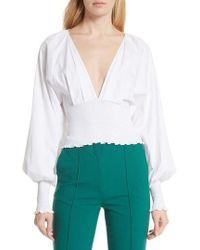 Diane von Furstenberg - Smocked Cotton Deep V Top - Lyst