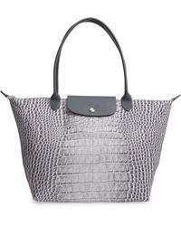 Longchamp - Le Pliage Croco Large Shoulder Tote Bag - Lyst