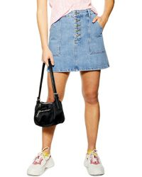 TOPSHOP - Petite Five Button Denim Skirt - Lyst