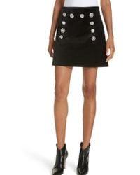 Veronica Beard - Ording Crystal Button Velvet Miniskirt - Lyst