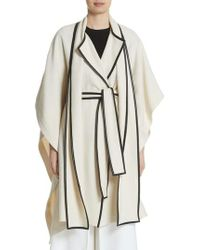 Rosetta Getty - Leather Trim Cotton & Wool Blend Cape With Scarf - Lyst