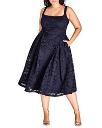 City Chic - Jackie O Lace Fit & Flare Dress - Lyst