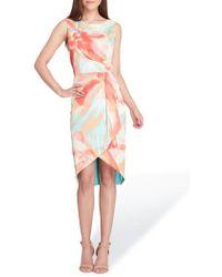 Tahari - Print Charmeuse Sheath Dress - Lyst