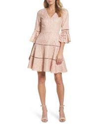 Eliza J - Bell Sleeve Lace Fit & Flare Dress - Lyst