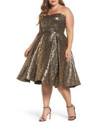 Mac Duggal - Metallic Fit & Flare Dress - Lyst