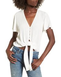 Lush - Knot Front Shirt - Lyst