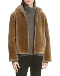 Vince - Plush Fleece Zip Front Hoodie - Lyst