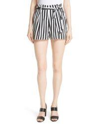 L'Agence - Alex Stripe Silk Paperbag Shorts - Lyst