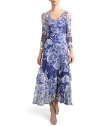 Komarov - Floral Charmeuse & Chiffon A-line Dress - Lyst