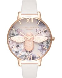 Olivia Burton - Watercolor Floral Leather Strap Watch - Lyst