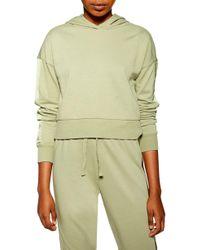 TOPSHOP - Satin Panel Lounge Hooded Sweatshirt - Lyst
