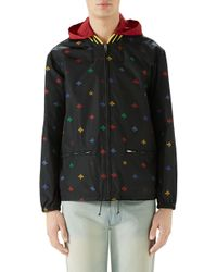 3457f14c4 Gucci Bee Jacquard Bomber Jacket in Blue for Men - Lyst