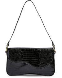 TOPSHOP Remi Croc Shoulder Bag - Black