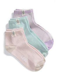 UGG - Ugg 3-pack Ankle Socks - Lyst