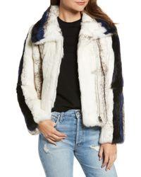 Love Token - Genuine Rabbit Fur Moto Jacket - Lyst