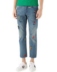 Gucci - Embroidered Slim Fit Jeans - Lyst