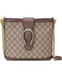 fb6eb79f4e3 Lyst - Gucci Dionysus GG Supreme Canvas Shoulder Bag in Natural