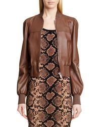 Michael Kors - Puff Sleeve Crop Leather Jacket - Lyst