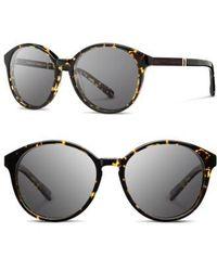 Shwood | 'bailey' 53mm Round Sunglasses - Dark Speckle/ Ebony/ Grey | Lyst