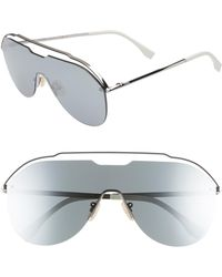 Fendi - 137mm Shield Aviator Sunglasses - Ruthenium - Lyst