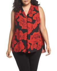 Vince Camuto - Woodblock Floral Invert Pleat A-line Top - Lyst