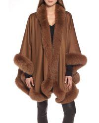 Sofia Cashmere - Fox Fur Trim Cashmere Cape - Lyst