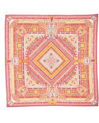 Ferragamo - Graphic Geometric Silk Scarf - Lyst
