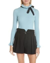 RED Valentino - Bow Neck Wool Sweater - Lyst