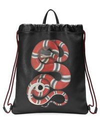 Gucci - Kingsnake Leather Drawstring Backpack - Lyst