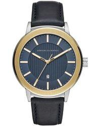 Armani Exchange - Round Leather Strap Watch - Lyst