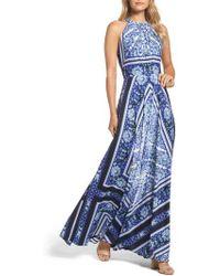 Eliza J - Scarf Print Maxi Dress - Lyst