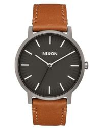 Nixon | The Porter Leather Strap Watch | Lyst