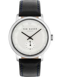 Ted Baker - Daniel Leather Strap Watch - Lyst